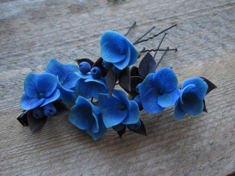 Mariage - Dark flower hair clip Wedding hair pins Wedding hair clip Wedding hair jewelry Dark blue accessory Floral hair clip Bridesmaid hair piece
