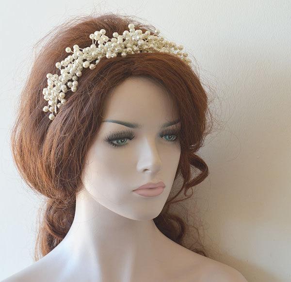 Mariage - Bridal Pearl Tiara, Wedding Pearl Tiaras, Wedding Hair Accessories,  Bridal Headpiece,  Bridal Hair Accessory, Hair Accessories