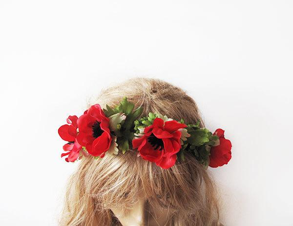 Mariage - Wedding Flower Crown, Floral Crown, Woodland Bridal Headpiece, Pink Purple Hair Accessories