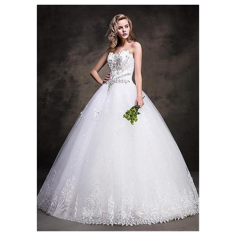 Wedding - Charming Tulle Sweetheart Neckline Ball Gown Wedding Dresses With Sequin Lace Appliques - overpinks.com