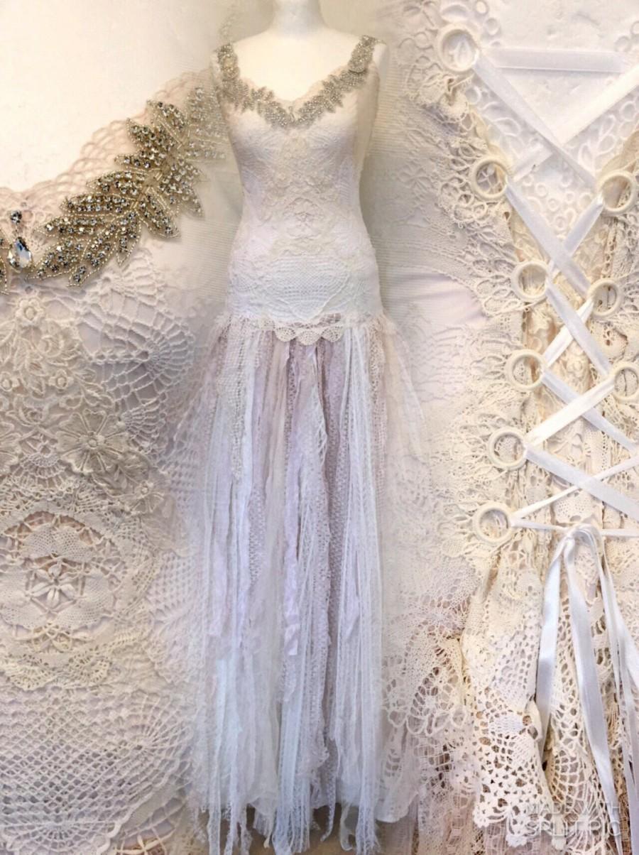 Boho Wedding Dress Made In Denmark Rusticunique Dressrepurposed Antique Lacerawrags Weddingbridal Gown Lagen