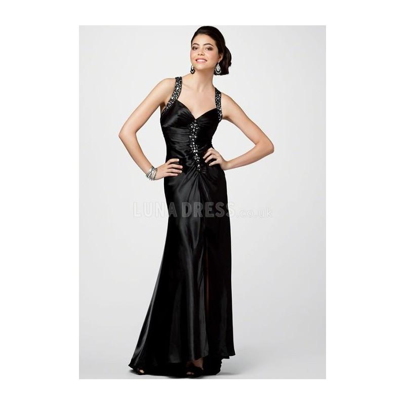 Mariage - Grand Floor Length A line Straps Elastic Silk Like Satin Sweep Train Prom Gowns - Compelling Wedding Dresses