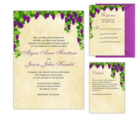 vineyard wedding invitations wine wedding theme printable wedding suite instantly download and edit now - Vineyard Wedding Invitations