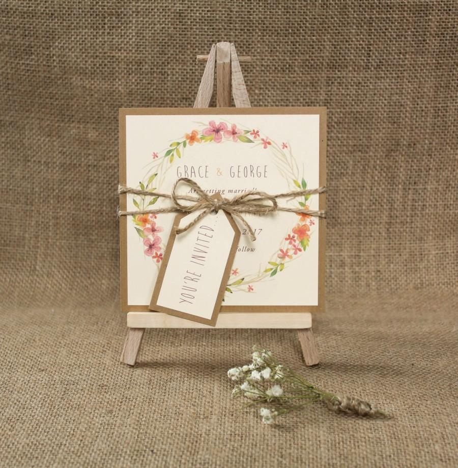 Boho Wedding Save The Date Card Floral Invite Rustic Wedding ...