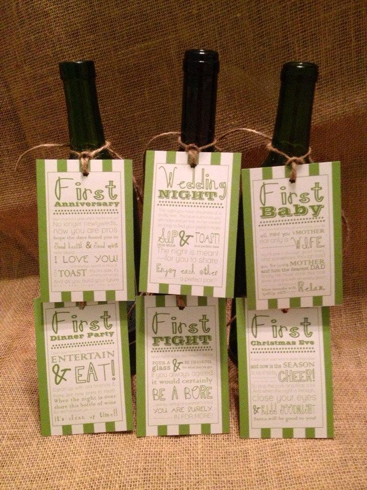 set of 6 bridal shower wine basket gift tags striped tags