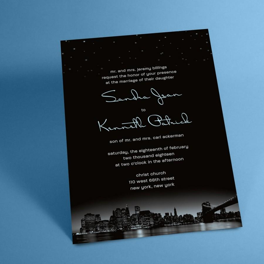 New York City Skyline Wedding Invitations With Night Stars, New ...