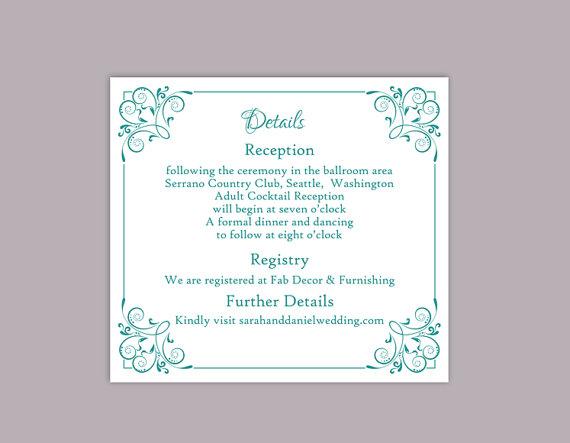 Wedding - DIY Wedding Details Card Template Editable Text Word File Download Printable Details Card Teal Blue Details Card Green Enclosure Cards
