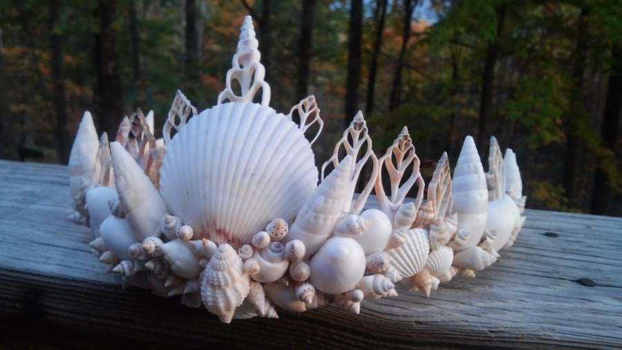 Hochzeit - white mermaid crown, seashell crown, crown, Mermaid headpiece, seashell crown, shell crown,