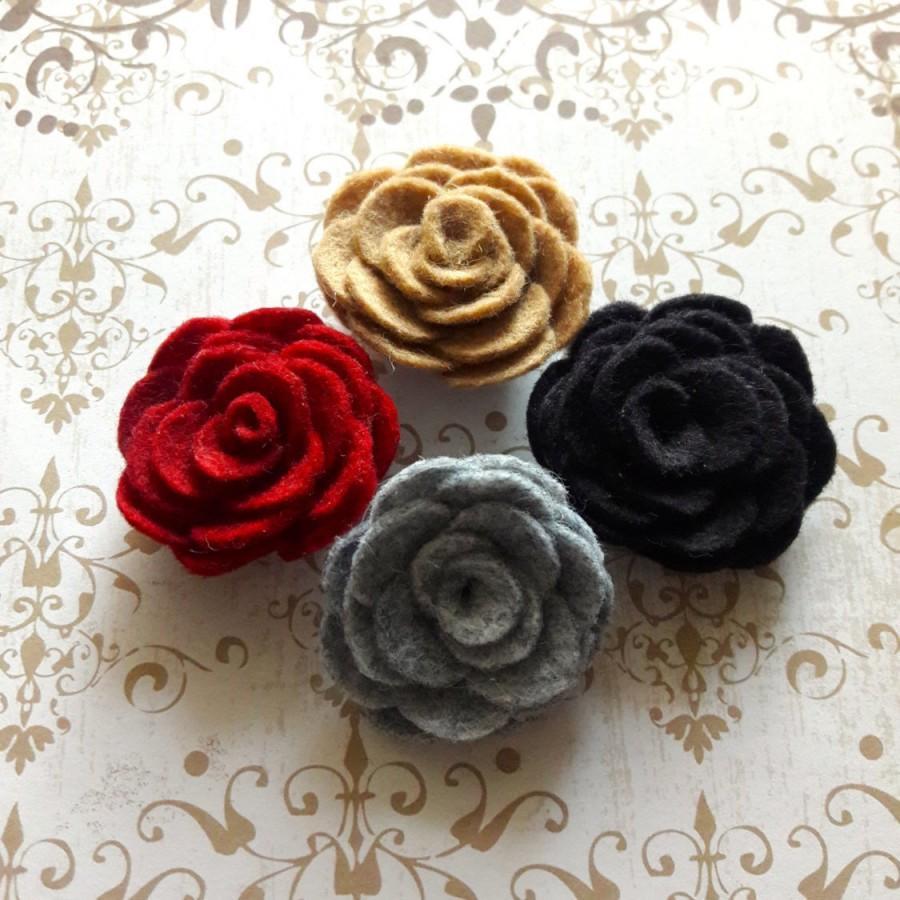 Mens 100 Wool Felt Flower Lapel Mens Red Camel Tan Gray Black