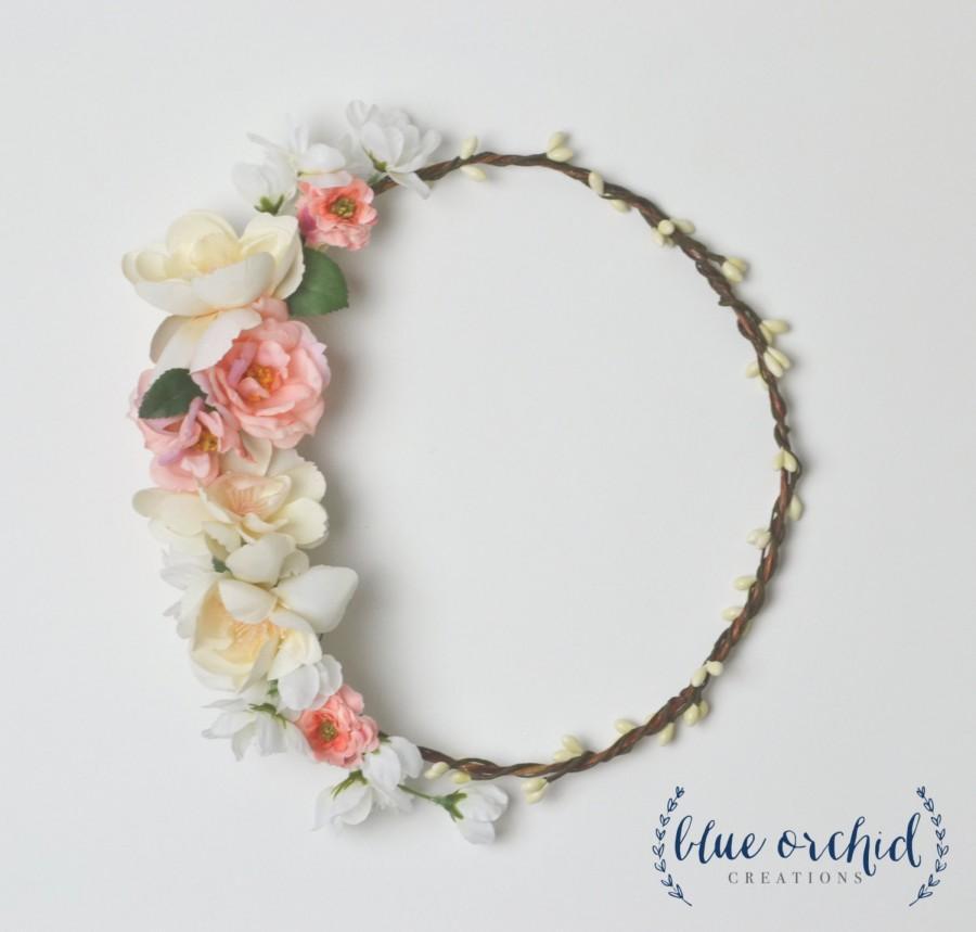 Mariage - Floral Crown, Peach and Cream, Silk, Flower Crown, Wildflower Crown, Boho Flower Crown, Wedding, Bridesmaid, Pink Flower Crown, Boho Wedding