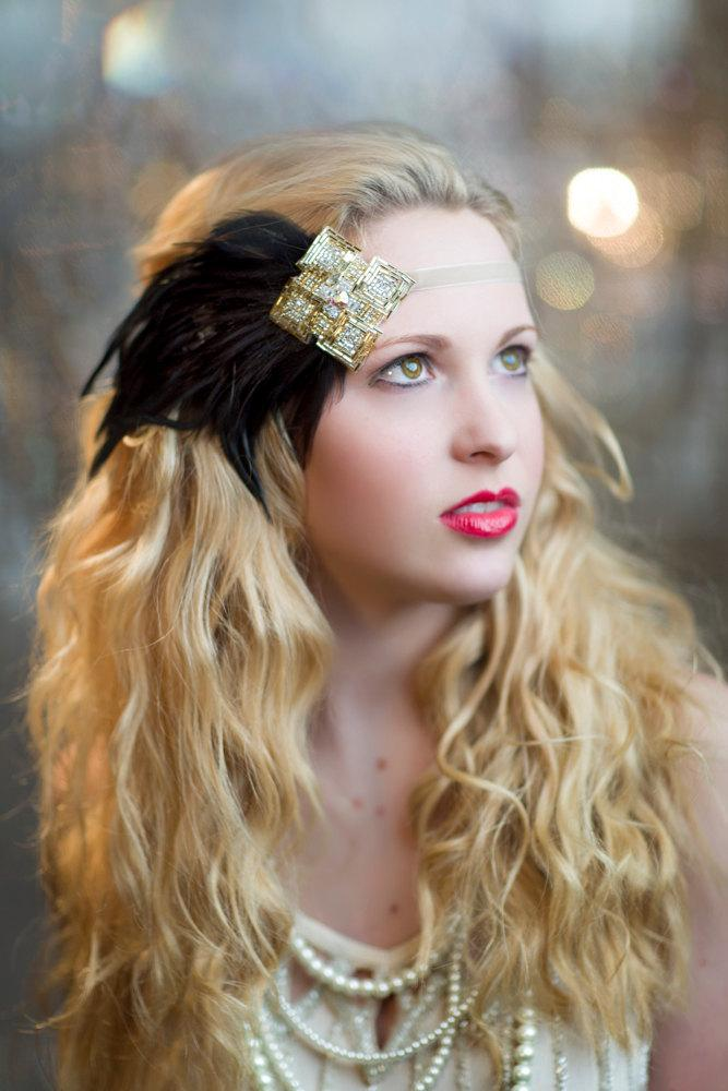 Mariage - New Years Eve Great Gatsby 1920s Headband, Silver and Gold Art Deco Beading with Black Feather Fascinator