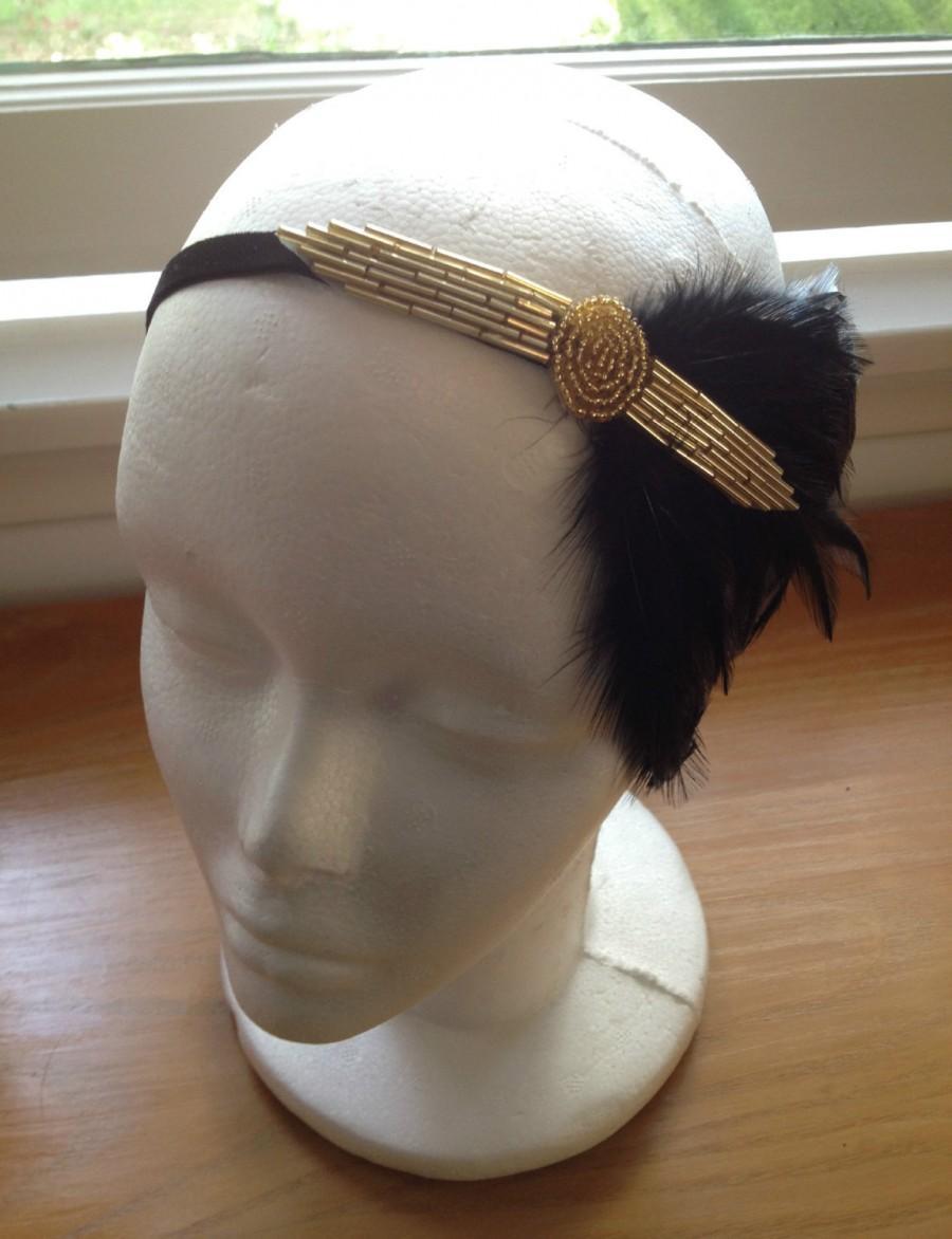 Wedding - Black Gold Headpiece, Roaring 20s, Gatsby Headband, Speakeasy, Flapper headpiece, Great Gatsby 1920s Flapper, Costume Headpiece, Jazz Age,