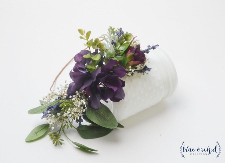 Wedding - Flower Crown, Purple Flower Crown, Marsala, Baby's Breath, Eucalyptus, Greenery, Silk Flower Crown, Dried Flower Crown, Wedding Flower Crown