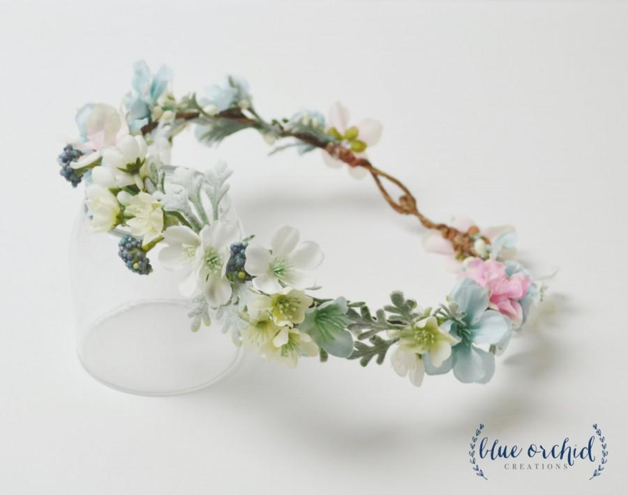 Wedding - Boho Wedding Crown, Pastel, Flower Crown, Silk Flower Crown, Pantone Colors, Serenity, Rose Quartz, Blossom, Wildflower, Cherry Blossom