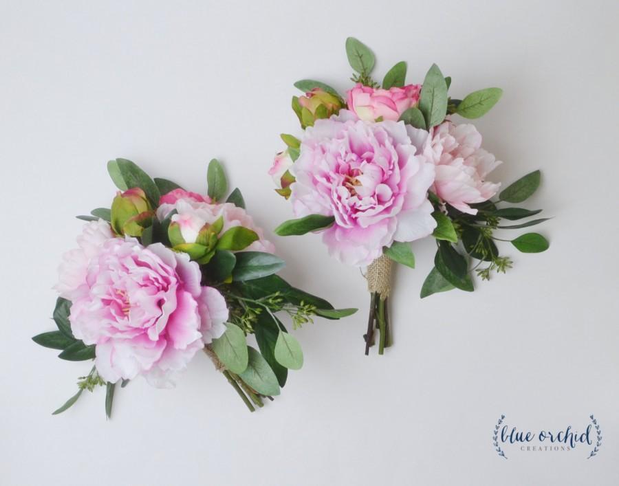 Peony Bouquet Bridesmaid Silk Blush Pink Wedding Flower Set