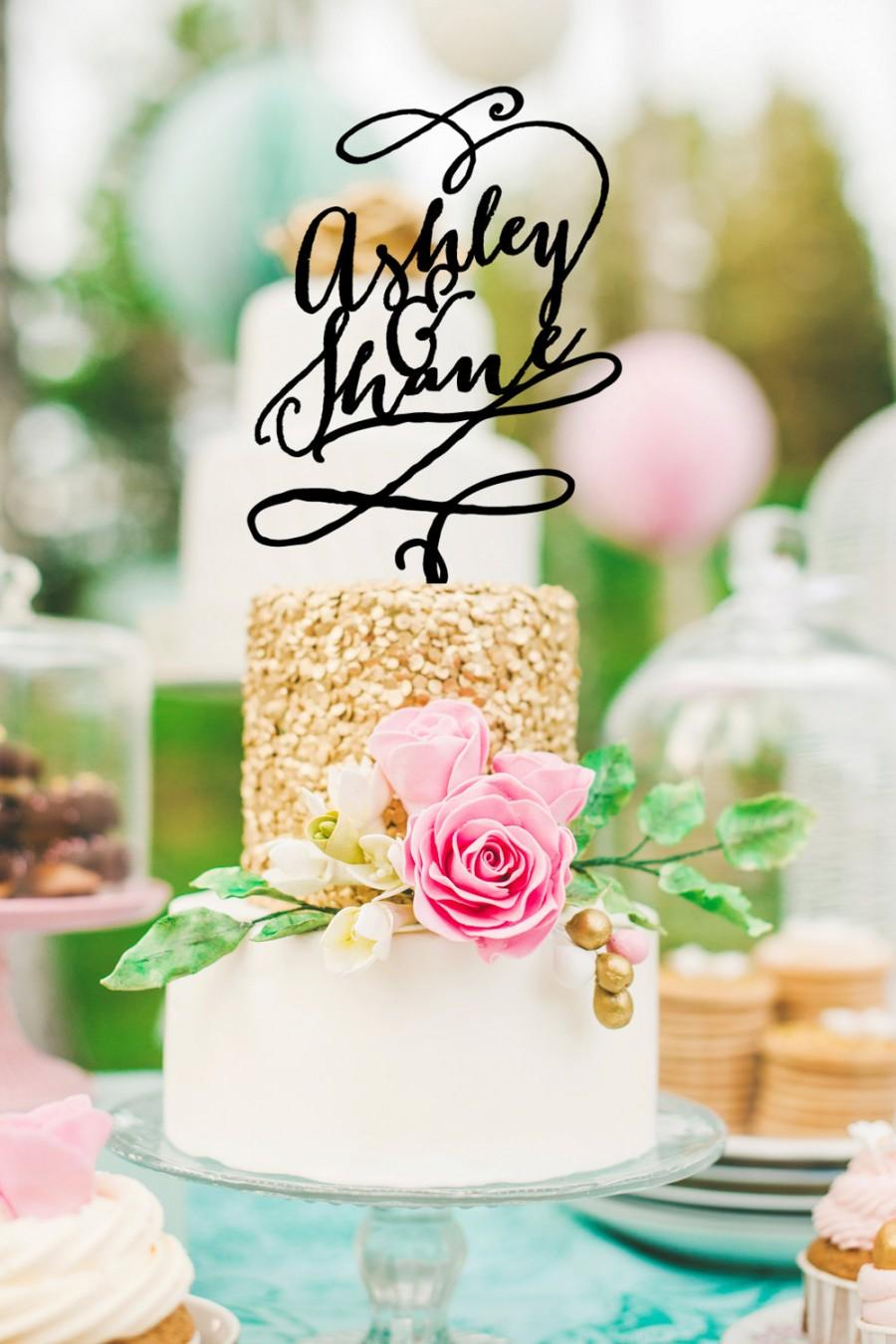 Mariage - Cake Topper Whimsical Custom Design - Personalized Cake Topper, Glitter, Black or Gold Calligraphy Style (Item - CCT900)