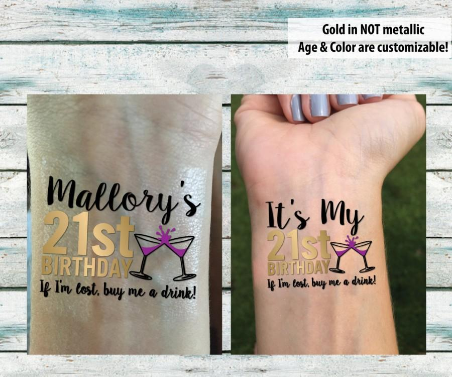 21st Birthday Party Temporary Tattoos, Birthday Tattoos