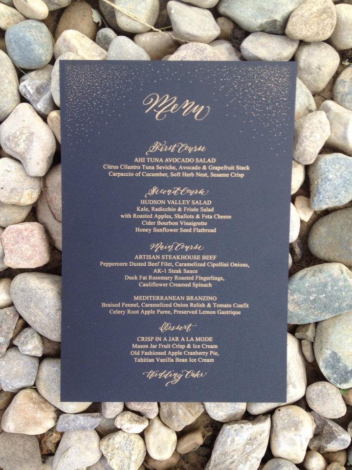 Mariage - Wedding Menu black and gold flecks with Calligraphy