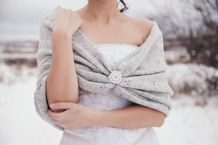 Winter Wedding Shawl Bridal Accessories Bridesmaid Gift Knitted Handmade