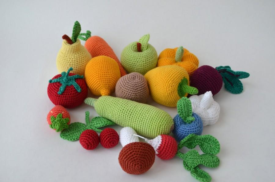 Crochet Knit Vegetables, Fruit Kitchen Decor Christmas Gift,Crochet  Food,Soft Toys,Handmade Toy, Eco Friendly,Learning Toy Set Of 16 Pcs