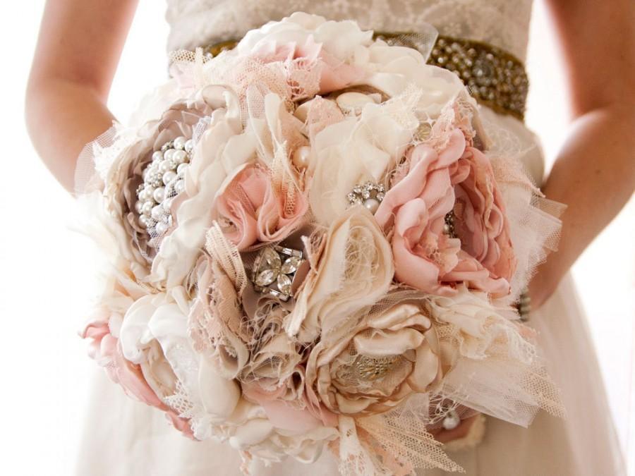 Fabric Flower Wedding Bouquet, Brooch Bouquet, Silk Style Cabbage ...