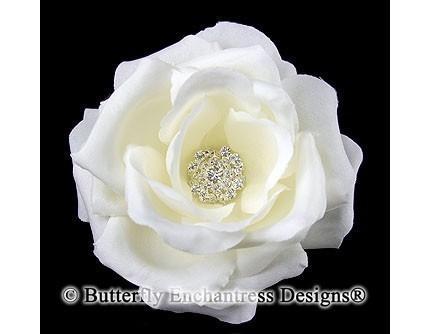 Свадьба - Clear Rhinestone Ivory Rose Flower Bridal Hair Clip