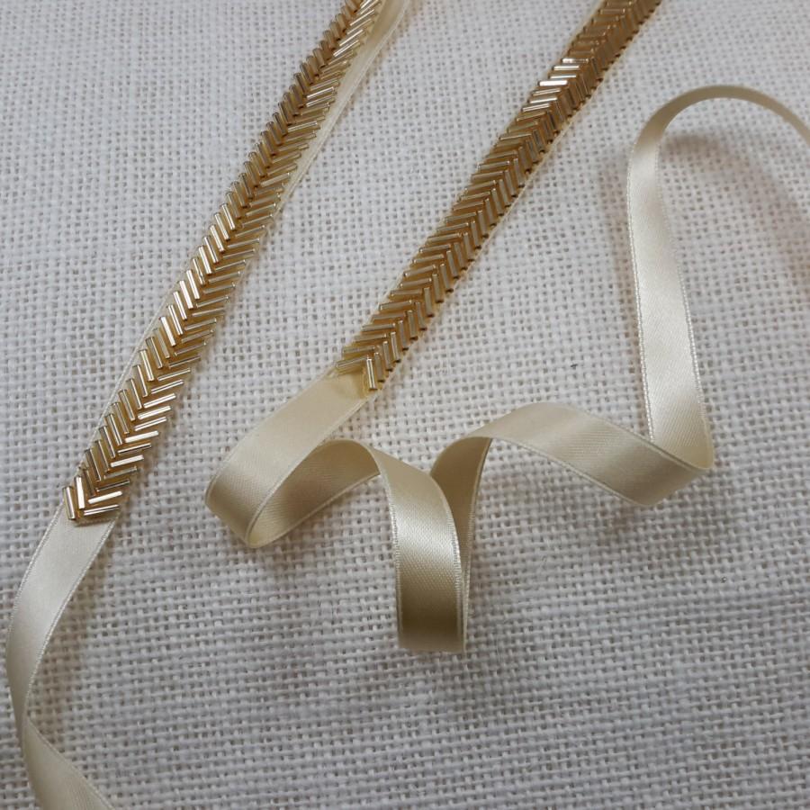Свадьба - Bridal Belt, Skinny Gold Belt, Thin Gold Bridal Sash, Gold Beaded Belt,   Wedding Belt, Bridal Gown Accessory, Best Friend Bridal188G