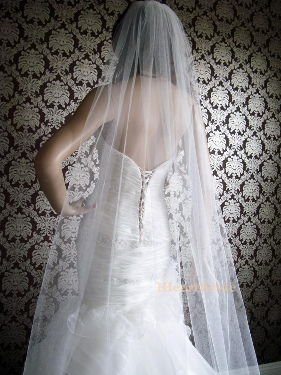 Mariage - Couture Sheer Silk Tulle Sweep Length Cut Edge Sheerest Silk Tulle Bridal Veil by IHeartBride V-MA72  Ivory or White Custom Silk Veil