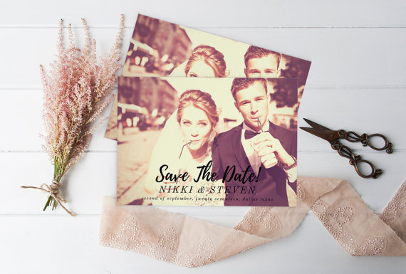 Wedding - Save The Date Photo - Save the Date, Printable Photo Save the Date Card, Wedding Custom Save the Date Photograph, Script Type Save the Date