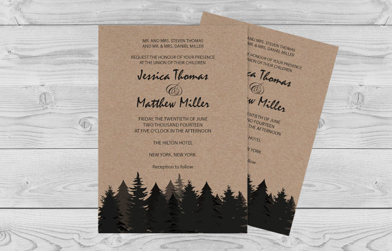 Winter Rustic Wedding Invitation Template