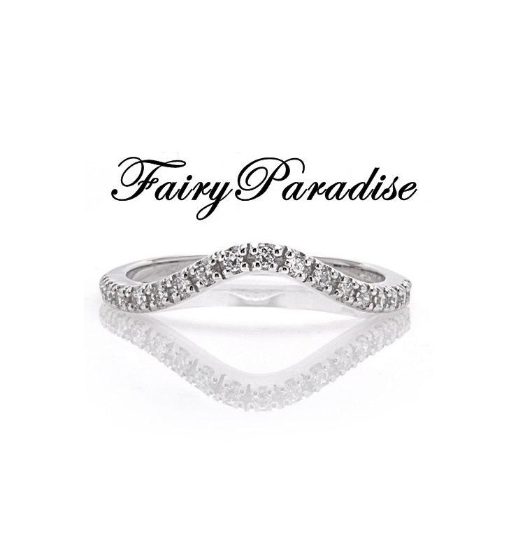 Mariage - Curved Wedding Band with Man Made Diamonds Stackable Anniversary Rings in 925 Sterling Silver, Half Eternity Band (FairyParadise)