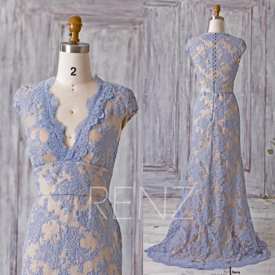 Mariage - 2016 Steel Blue Bridesmaid Dress with Champagne Lining, V Neck Lace Wedding Dress, Slim Cap Sleeve Evening Gown Floor Length (HW173)