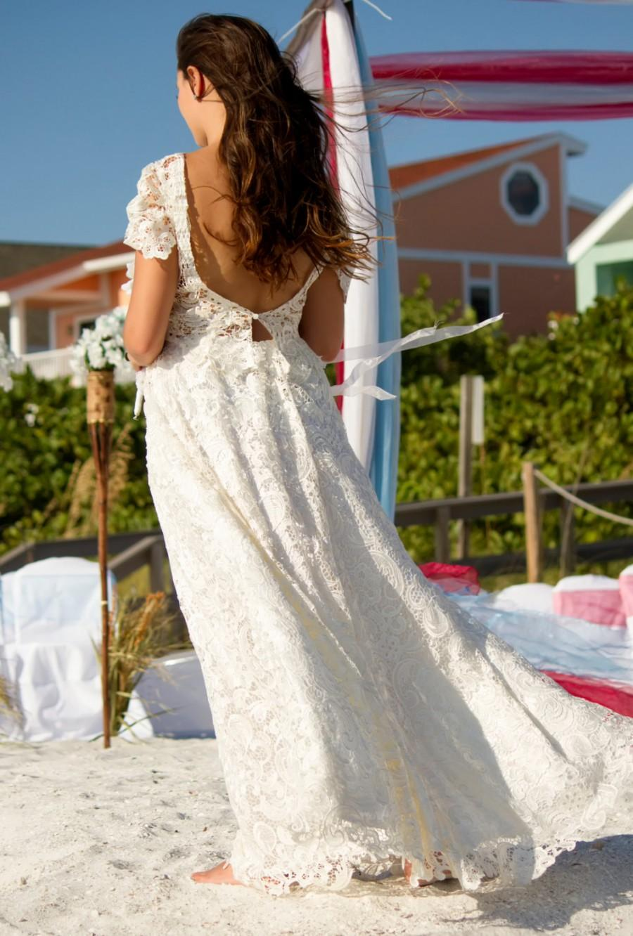 Mariage - ivory lace cap sleeve with low plunging v back ball gown