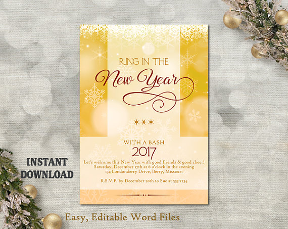 new years invitation new years party invitation printable holiday party card new years eve card editable template glitter gold diy