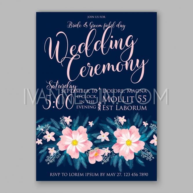 Wedding - Peony wedding invitation template design.Romantic pink peony bouquet bride card template design - Unique vector illustrations, christmas cards, wedding invitations, images and photos by Ivan Negin