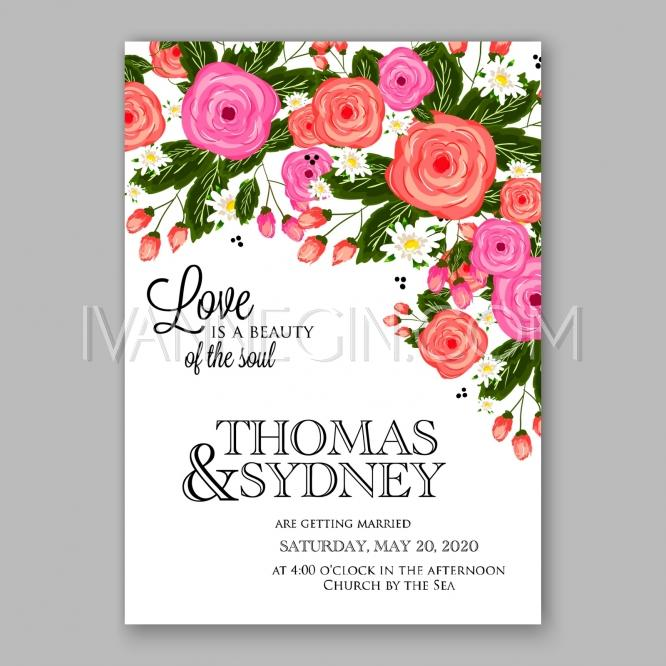 wedding invitation with delicate pink roses daisies pine branches