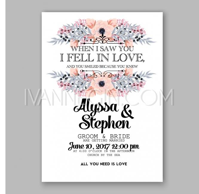 Anemone wedding invitation card printable template unique vector anemone wedding invitation card printable template unique vector illustrations christmas cards wedding invitations images and photos by ivan negin stopboris Image collections