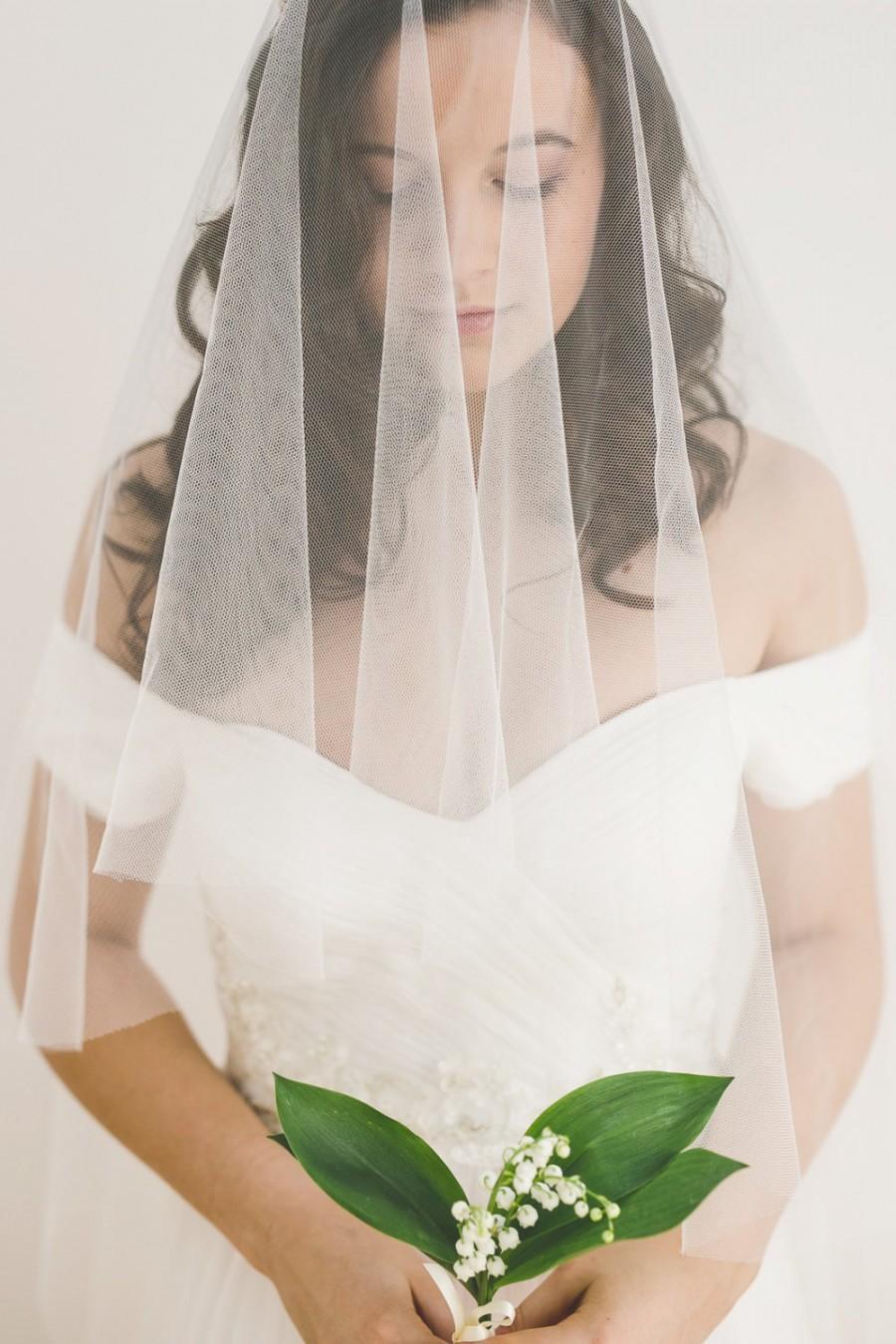 Свадьба - drop veil, wedding drop veil, bridal veil, ivory drop veil, english net veil, blusher veil, tulle veil - GOSSAMER