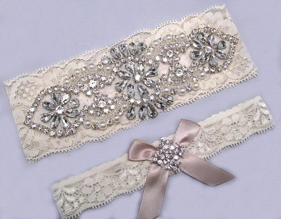Hochzeit - 35 Bow Colors, Champagne Wedding Garters, Ivory / White Lace Keepsake / Toss Bridal Garter Set, Pearl Crystal Rhinestone Custom Garter