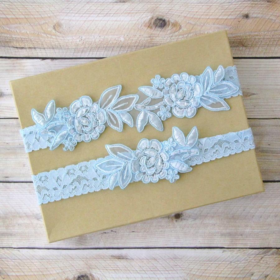 Hochzeit - Light Blue Embroidery Flower Lace Wedding Garter Set, Light Blue Garter Set, Toss Garter , Keepsake Garter,Something Blue  / GT-34A