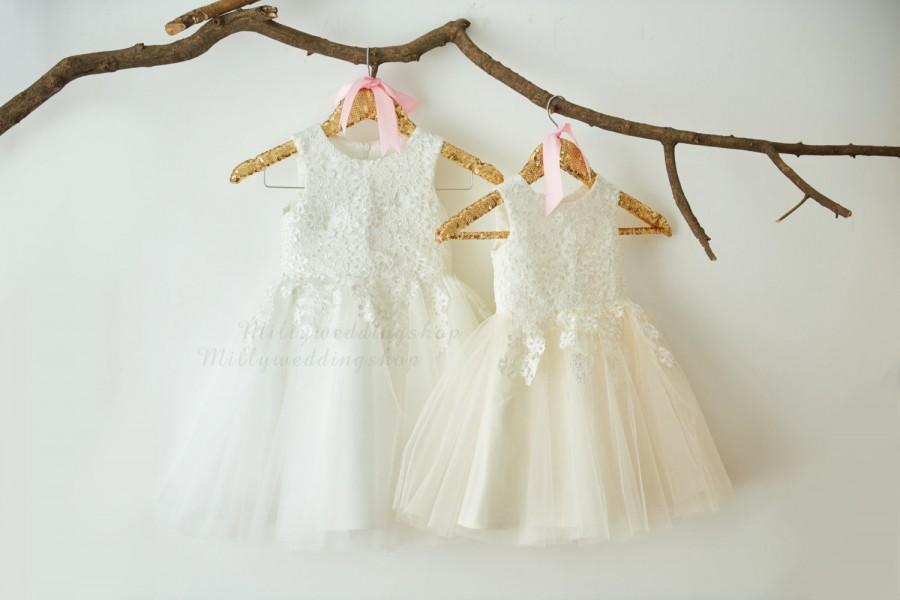 Hochzeit - Ivory Lace Ivory Tulle Flower Girl Dress Wedding Bridesmaid Dress M0052