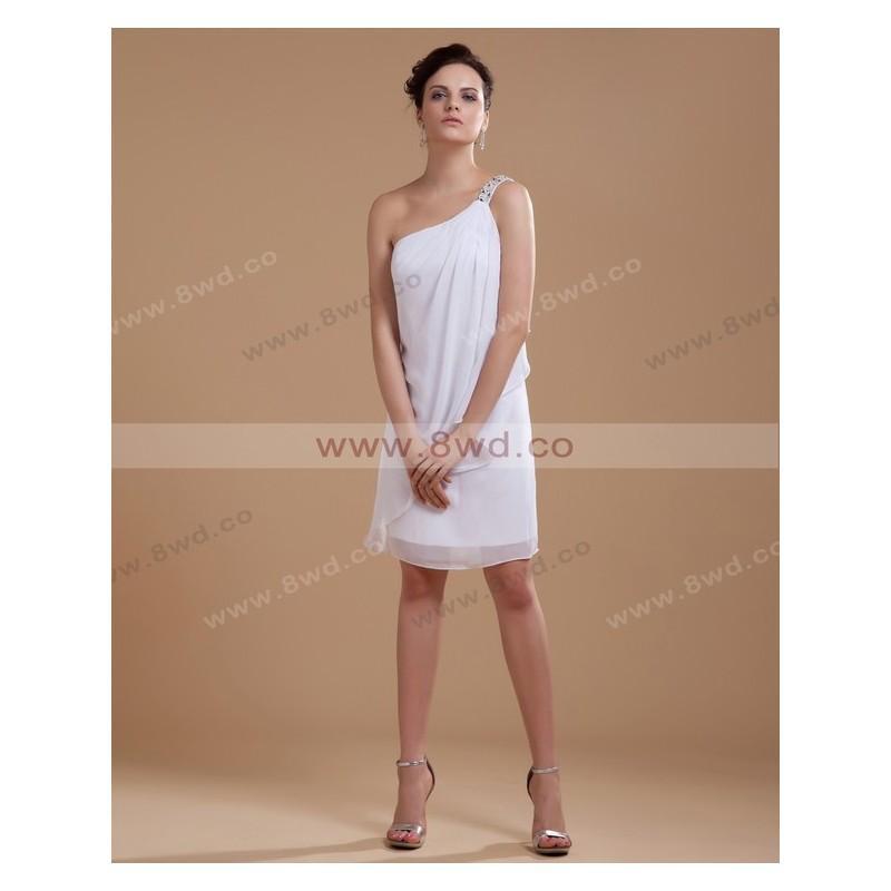 Свадьба - By Carolyn Carr Sheath/Column One Shoulder Sleeveless Knee-length Chiffon Beach Wedding Dress  In Canada Wedding Dress Prices - dressosity.com