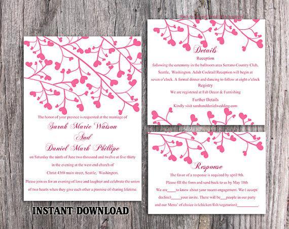Wedding - DIY Wedding Invitation Template Set Editable Word File Instant Download Printable Invitation Pink Wedding Invitation Heart Invitation