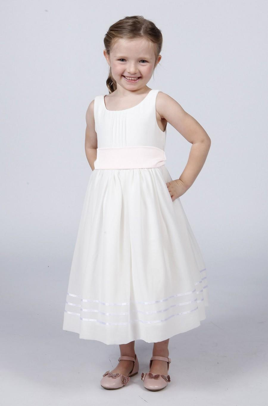 Hochzeit - Matchimony White Flower Girl Dress with Sash In Different Colours To Match Your Bridesmaids including White