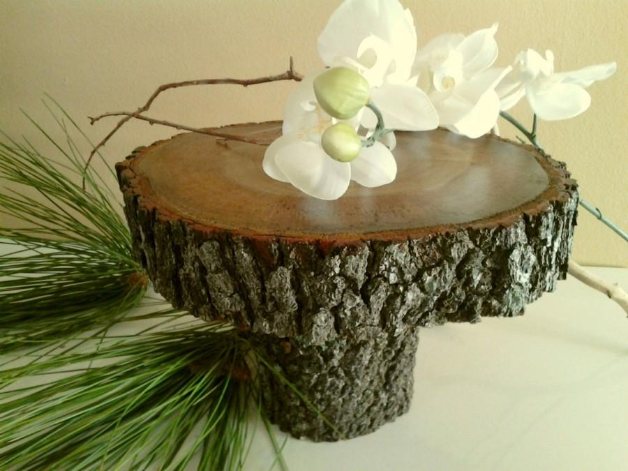 "Hochzeit - TREASURY ITEM - 9"" Rustic wedding Cake Stand - Log cake stand - Bark logs - Wood cake stand - Holiday cake stand - Woodland decor"