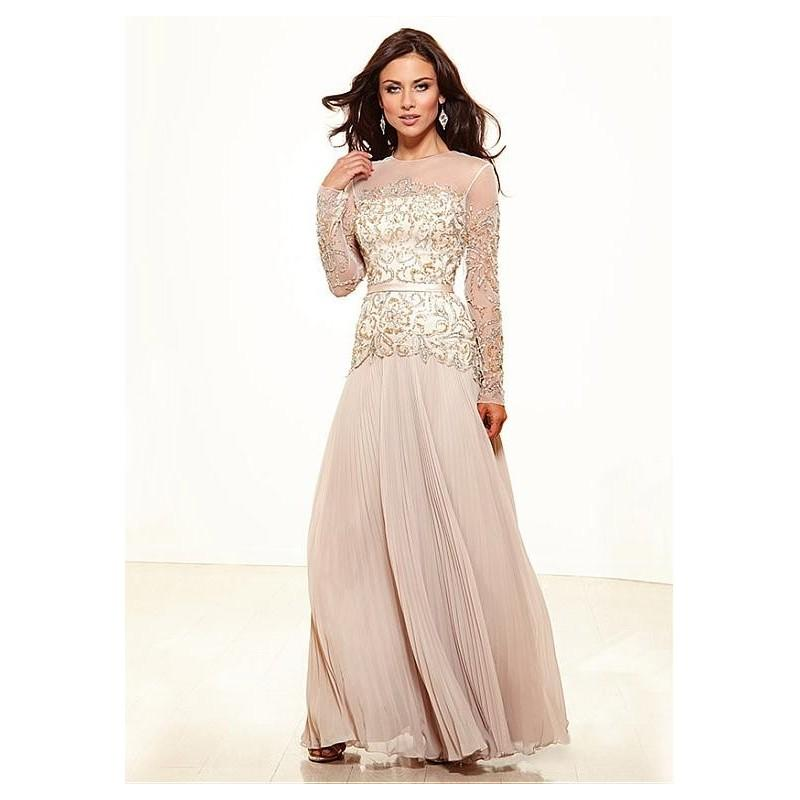 Wedding - Elegant Chiffon A-line Jewel Neckline Full-length Long Sleeves Mother of the Bride Dress - overpinks.com