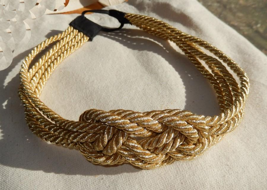 Hochzeit - Couture Gold Braided Nautical Knot Headband- Single or Double Strandle-As Seen on Gossip Girl-CRBoggsdesigns