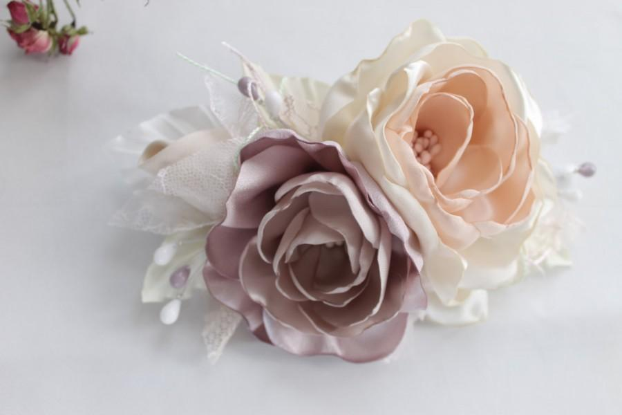 Düğün - Flower Bridal Headpiece, Bridal Flower Fascinator, Rustic Bridal Flower Hair Clip, blush pink and peach hair flowers,