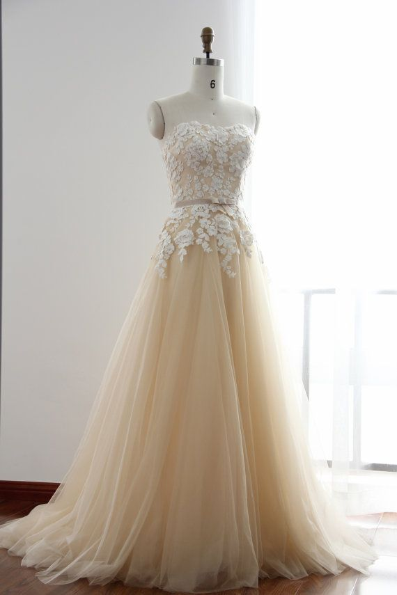 A Line Flower Lace Champagne Wedding Dress With Strapless Slight ...