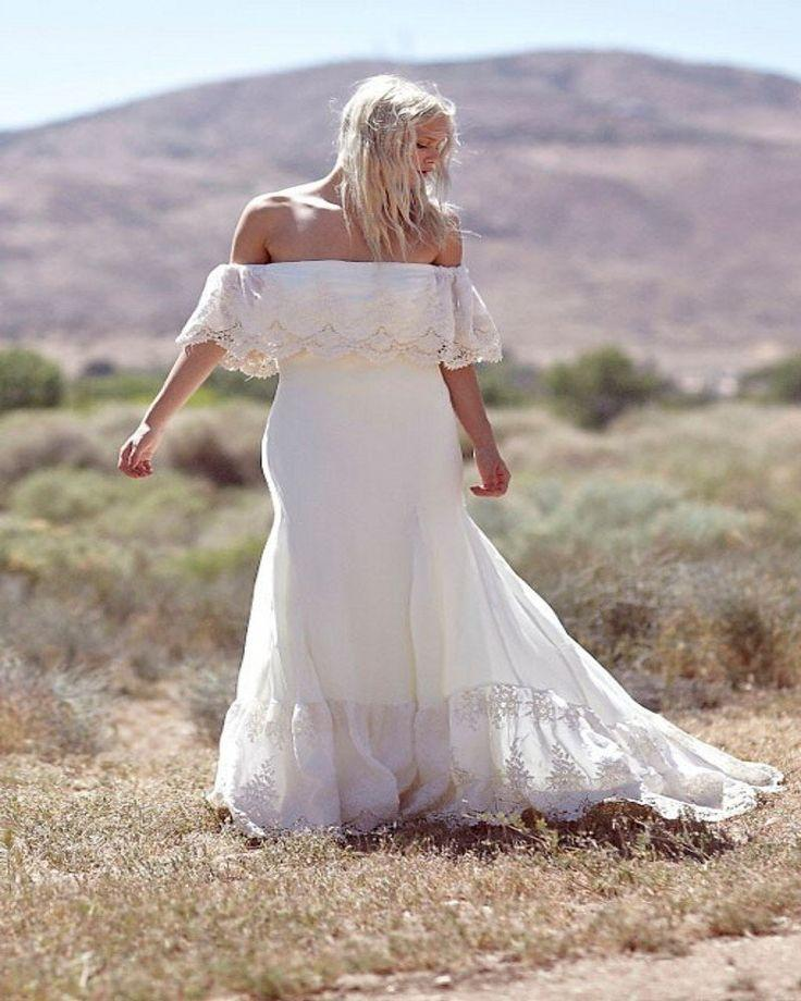 Wedding - Plus Size Collection :: Boho Off Shoulder Lace & Chiffon Wedding Dress